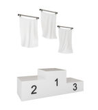 Podium, winners, with blank flags, isolated. On white, with clipping path, 3d illustration Royalty Free Stock Images