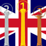 Podium for the winners of the British flag Royalty Free Stock Photos