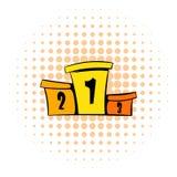 Podium winners icon, comics style. Podium winners icon in comics style  on white background Royalty Free Stock Photo