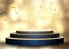Free Podium With Streamers And Confetti Stock Photo - 127489180