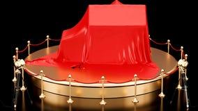 Podium z dom zakrywającym czerwonym płótnem, krąży wokoło, animaci pojęcie świadczenia 3 d ilustracji