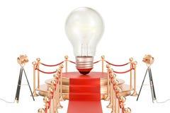 Podium z lightbulb, pomysłu pojęcie świadczenia 3 d Zdjęcie Royalty Free