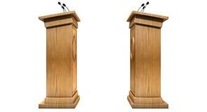 Αντιτιθέμενη συζήτηση Podiums Στοκ εικόνα με δικαίωμα ελεύθερης χρήσης