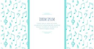podkład muzyczny uwagi sztandaru szablon Melodia symbol Czerni i wite llustration royalty ilustracja