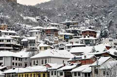 Podkaljaja, the old part of Prizren under the fortress, covered with snow. Old cultural city of Prizren, Kosovo covered with snow at winter season royalty free stock photography