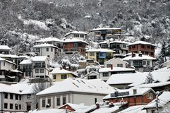 Podkaljaja, the old part of Prizren under the fortress, covered with snow. January, 11th, 2019 Podkaljaja, the old part of Prizren under the fortress covered royalty free stock photography