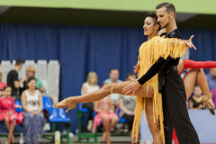 Podkas Sergey and Klepcha Anastasiya Perform Adult Latin-American Program During the National Championship Royalty Free Stock Images