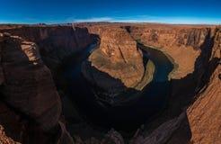 Podkowa chyłu meander Kolorado rzeka w roztoka jarze, Arizona zdjęcie stock