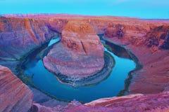 Podkowa chyłu Kolorado rzeka, strona, AZ Fotografia Royalty Free
