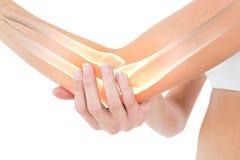 Podkreślać kości kobieta z łokcia bólem Obraz Royalty Free