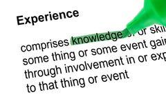 Podkreślająca słowo wiedza z zielonym piórem Fotografia Stock