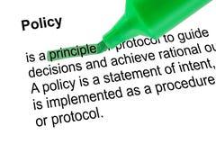 Podkreślająca słowo zasada z zielonym piórem Zdjęcie Royalty Free
