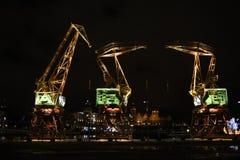 Podkreślający żurawie w Szczecińskim, miasto zabytek Podkreślający żurawie w Szczecińskim, miasto zabytek obrazy stock
