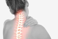Podkreślający kręgosłup kobieta z szyja bólem zdjęcie royalty free