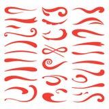 Podkreśleń swooshes Chłosta szczotkarskiego naciska, wręcza patroszonego markiera uderzenia, doodle swash główna atrakcja W royalty ilustracja