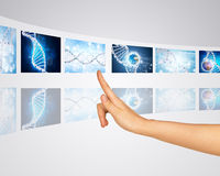 Podległych genów ziemska kula ziemska Palec naciska jeden Zdjęcia Stock