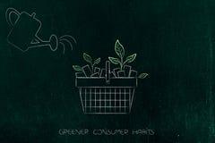 Podlewanie puszka i zakupy kosz z liśćmi r z go, royalty ilustracja