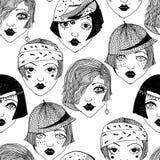 Podlotek dziewczyn bezszwowy wzór 1920 ` s kobiety ilustracja wektor