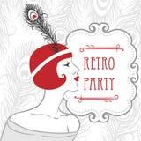 Podlotek dziewczyn retro partyjny zaproszenie w 20s stylu royalty ilustracja