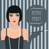 Podlotek dziewczyna: Retro partyjny zaproszenie projekt royalty ilustracja