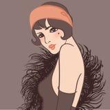 Podlotek dziewczyna: Retro partyjny zaproszenie projekt, sztuka ilustracji