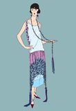 Podlotek dziewczyny (20s styl): Mody retro przyjęcie ilustracji