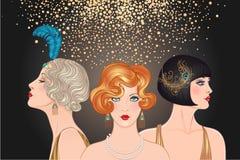 Podlotek dziewczyny ustawiać: trzy młodej pięknej kobiety 1920s wektor royalty ilustracja