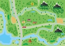 Podmiejska natury mapa ilustracja wektor