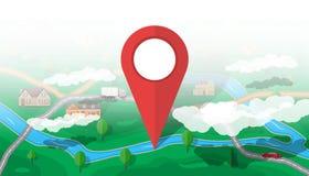 Podmiejska natury mapa gps ikony nawigaci setu wektor royalty ilustracja
