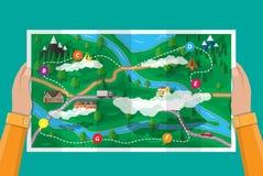 Podmiejska papierowa natury mapa gps ikony nawigaci setu wektor royalty ilustracja