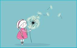 podmuchowa dandelion dziewczyna Obrazy Stock