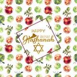 podmuchowego chłopiec hashanah żydowski nowy rosh shofar rok Żydowski nowy rok Wręcza literowanie i akwareli ilustrację dla sztan Zdjęcie Royalty Free