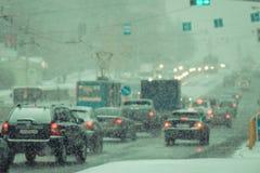 Podmuchowy śnieg w mieście Obrazy Stock