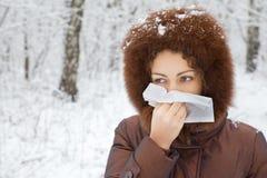 podmuchowy nosa szalika zima kobiety drewno Obraz Stock