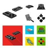 Podniecenie, kasyno, gra i inna sieci ikona w czarnym, mieszkania stylowy Magnifier, cyganienie, rozrywka, ikony w secie ilustracja wektor