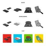 Podniecenie, kasyno, gra i inna sieci ikona w czarnym, płaski, monochromu stylowy Magnifier, cyganienie, rozrywka, ikony royalty ilustracja