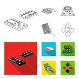 Podniecenie, kasyno, gra i inna sieci ikona w konturze, mieszkania stylowy Magnifier, cyganienie, rozrywka, ikony w secie ilustracja wektor