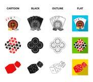 Podniecenie, kasyno, gra i inna sieci ikona w kreskówce, czerń, kontur, mieszkanie styl Cyganienie, rozrywka, odtwarzanie ilustracja wektor