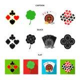 Podniecenie, kasyno, gra i inna sieci ikona w kreskówce, czerń, mieszkanie styl Cyganienie, rozrywka, odtwarzanie, ikony wewnątrz ilustracja wektor