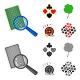Podniecenie, kasyno, gra i inna sieci ikona w kreskówce, monochromu styl Cyganienie, rozrywka, odtwarzanie, ikony wewnątrz ilustracji