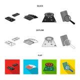 Podniecenie, kasyno, gra i inna sieci ikona w kreskówce, projektujemy Magnifier, cyganienie, rozrywka, ikony w ustalonej kolekci ilustracji