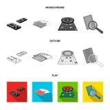 Podniecenie, kasyno, gra i inna sieci ikona w mieszkaniu, kontur, monochromu stylowy Magnifier, cyganienie, rozrywka, ikony ilustracja wektor