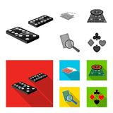 Podniecenie, kasyno, gra i inna sieci ikona w monochromu, mieszkania stylowy Magnifier, cyganienie, rozrywka, ikony w secie ilustracji