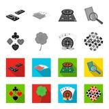 Podniecenie, kasyno, gra i inna sieci ikona w monochromu, mieszkanie styl Cyganienie, rozrywka, odtwarzanie, ikony w secie ilustracja wektor