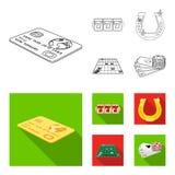 Podniecenie, odtwarzanie, hobby i inna sieci ikona w konturze, mieszkanie styl , kasyno, rozrywka, instytucj ikony w secie ilustracja wektor