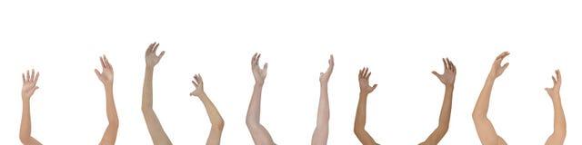 podnieście ręce odizolować Zdjęcie Stock