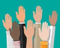 Podnosić up ręki Ludzie głosowanie ręk ilustracji
