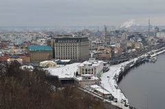 The Podol of Kiev in the winter from a height stock photo