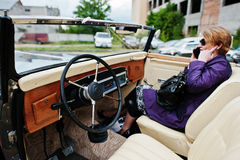 Podol, Ukraine - May 19, 2016: Dashboard and steering wheel of M. Aybach Zeppelin DS 8 Roadster, luxury classic car Stock Image