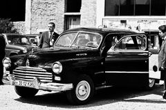 Podol, Ukraine - May 19, 2016: GAZ-12 ZIM, luxury Soviet limousi. Ne, produced by the Gorky Automotive Plant from 1950 till 1960. Black and white photo Royalty Free Stock Photo